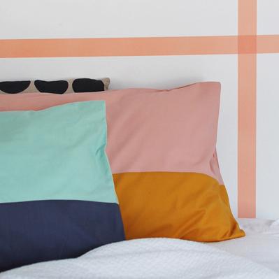 make your own COLOUR BLOCK PILLOWCASES pillow shams