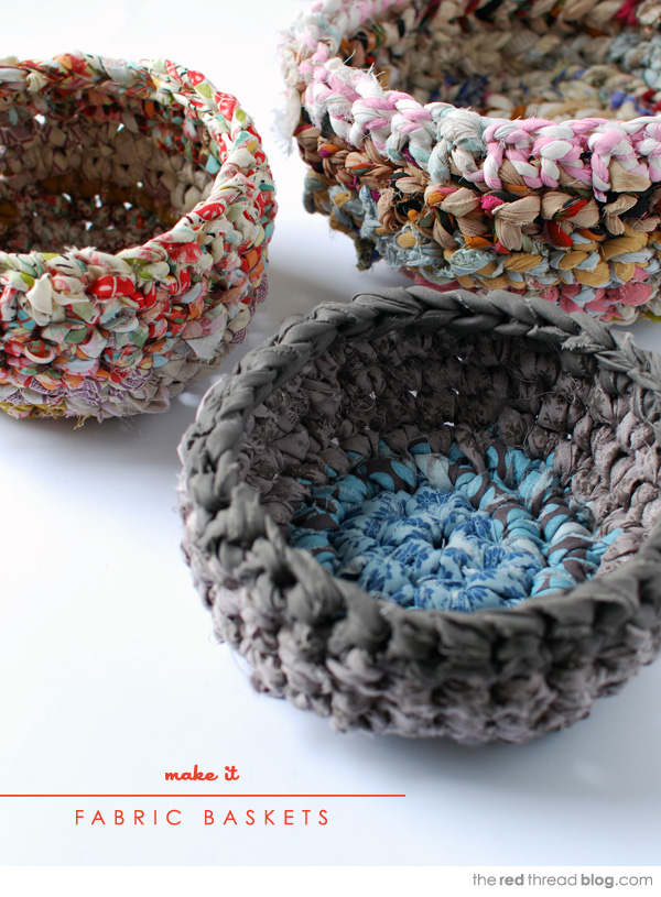the red thread fabric crochet baskets