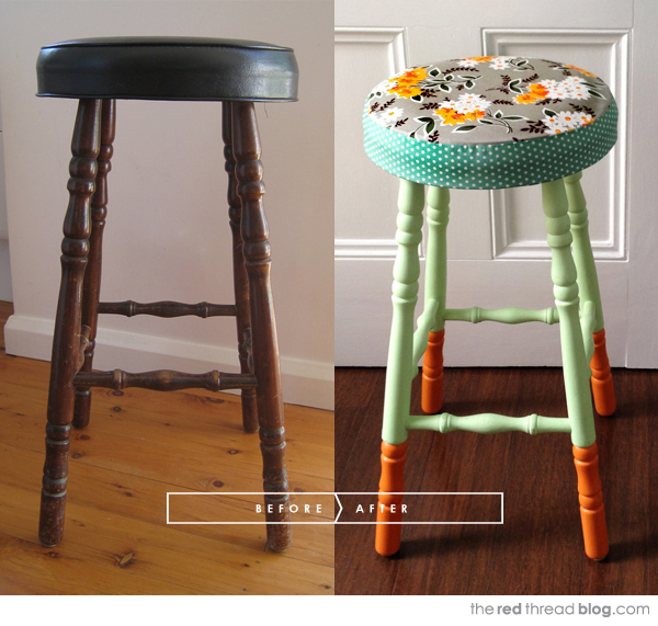 the red thread stool makeover before and after