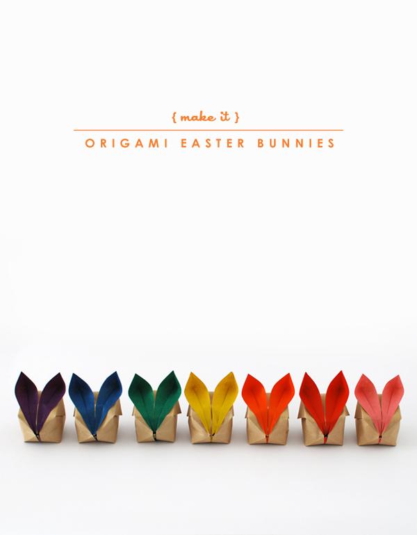 the red thread origami bunnies main rainbow