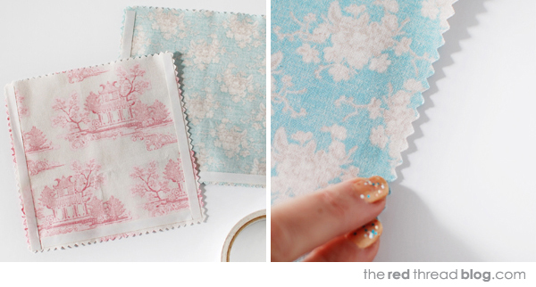 the red thread fabric gift bags steps