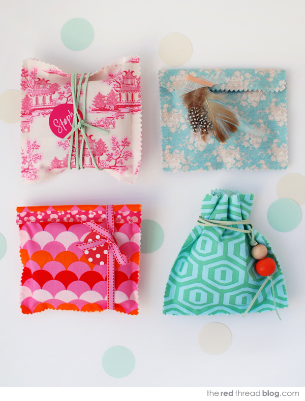 the red thread fabric gift bags tutorial