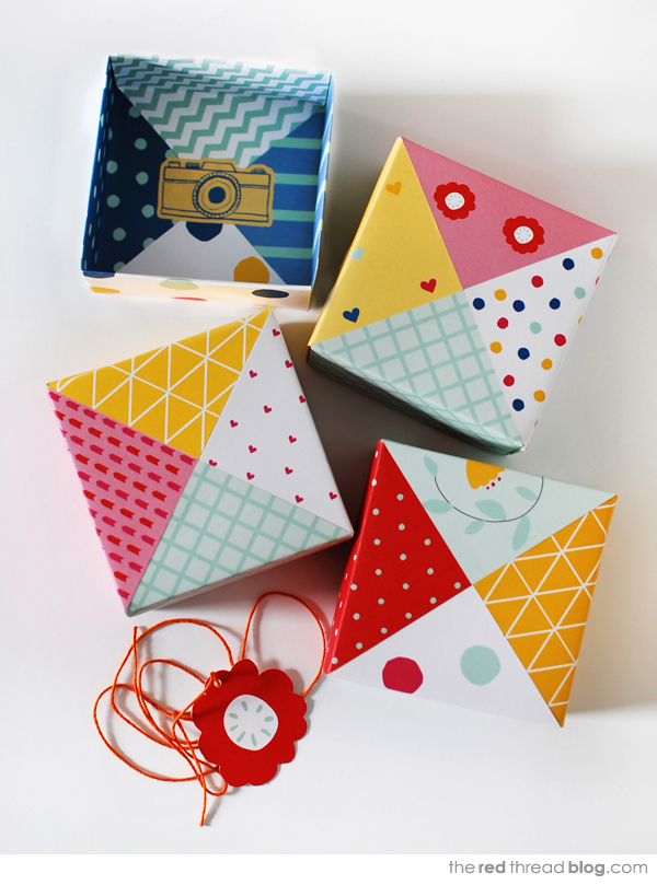 the red thread patchwork origami box lids