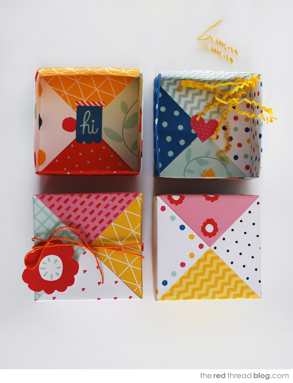 the red thread patchwork origami boxes group