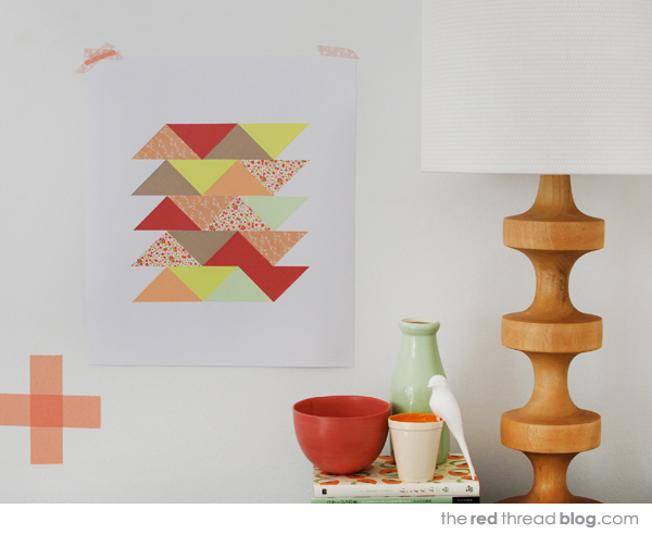the red thread paper patchwork art