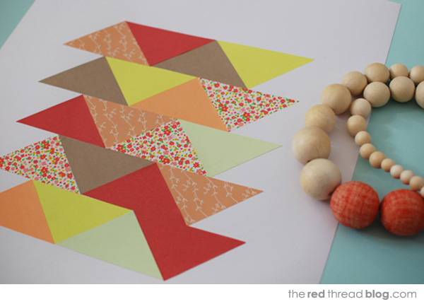the red thread paper patchwork closeup