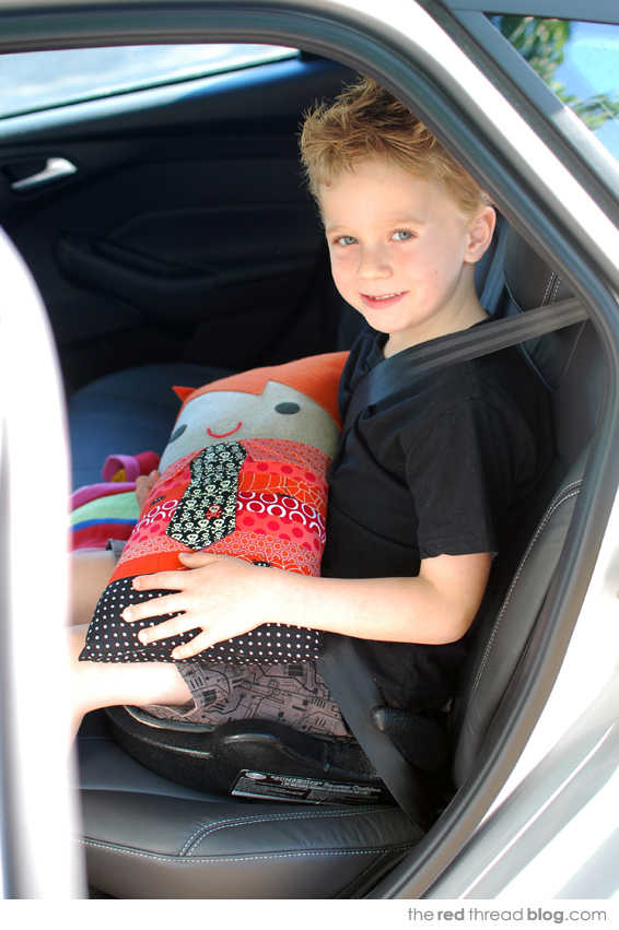 childs car comfort pillow via the red thread