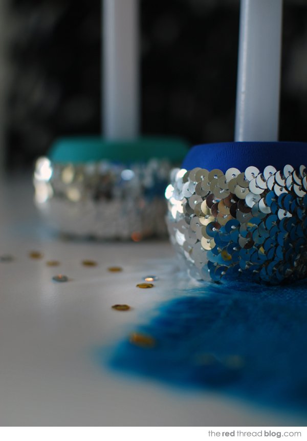 tutorial - sequin candle holders - the red thread