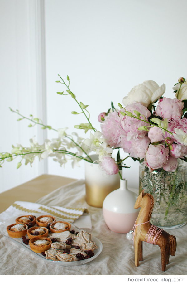 Pastel, white and gold Christmas - the red thread blog. Styling and photography: Lisa Tilse